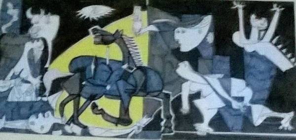 Transfix Wall Art - Drawing - based on Picasso Art  Guernica by Miss Ratul Banerjee