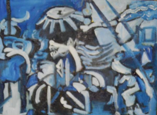 Transfix Wall Art - Painting - based on Picasso Guernica in blue and indigo  by Miss Ratul Banerjee
