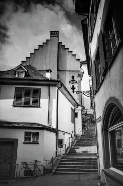 Steep Photograph - Basel Old Town In Black And White  by Carol Japp