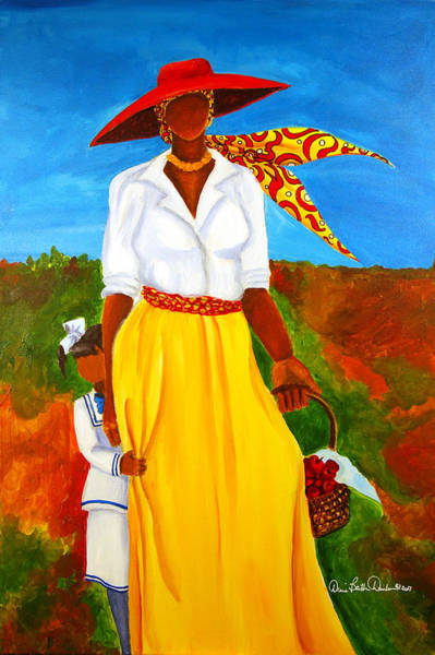 African Women Painting - Bashful Beauty by Diane Britton Dunham