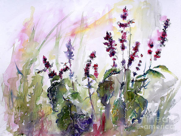 Painting - Basil Culinary Herb Watercolor by Ginette Callaway