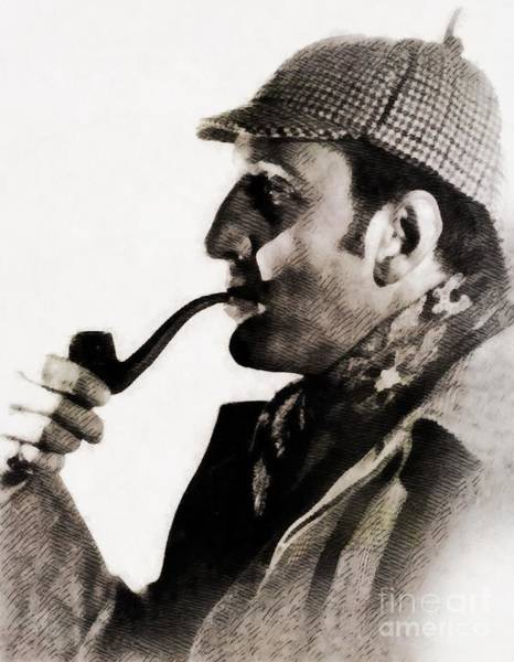 Screen Painting - Basil Rathbone As Sherlock Holmes by John Springfield