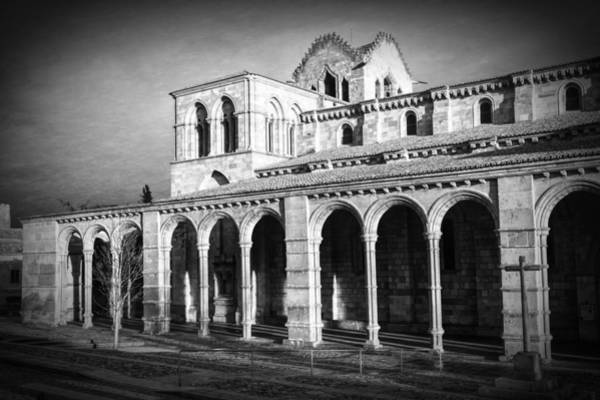 Photograph - Basilica De San Vicente Early Morning Bw by Joan Carroll