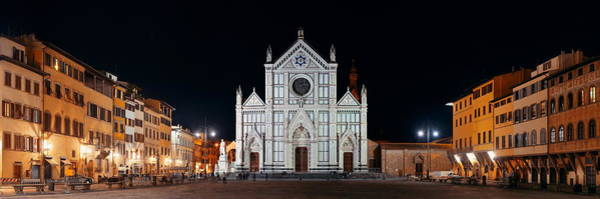 Photograph - Basilica Di Santa Croce Florence At Night Panorama by Songquan Deng