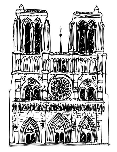 Notre Dame Drawing - Basilica Notre-dame by Michal Boubin