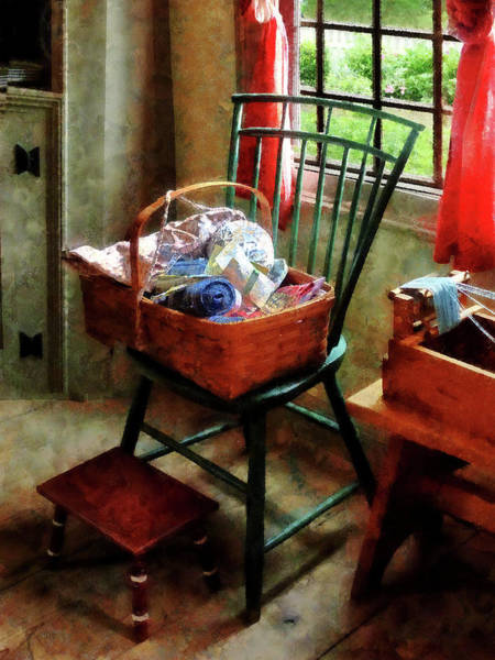 Photograph - Basket Of Cloth And Yarn On Chair by Susan Savad