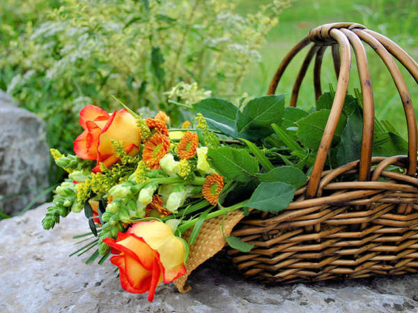Photograph - Basket Of Fall Flowers by Kristin Elmquist