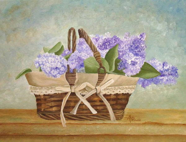 Painting - Basket Of Lilacs by Angeles M Pomata