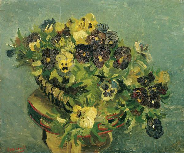 Violas Painting - Basket Of Pansies by Vincent van Gogh
