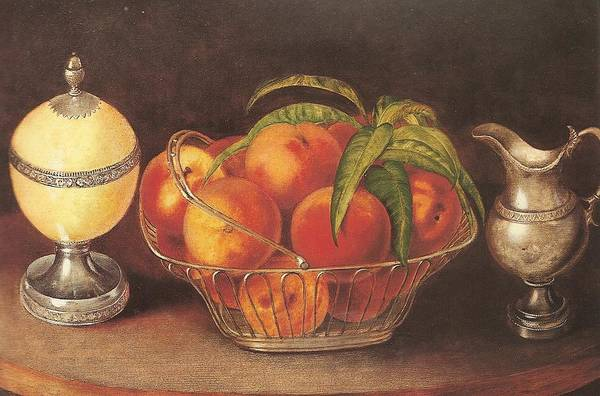 Painting - Basket Of Peaches With Ostrich Egg And Cream by Celestial Images