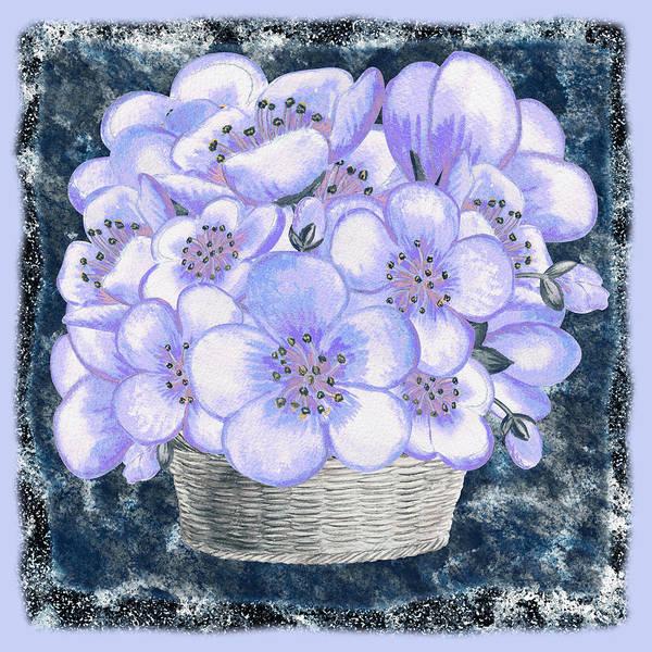 Flower Market Painting - Basket With Blue Flowers  by Irina Sztukowski