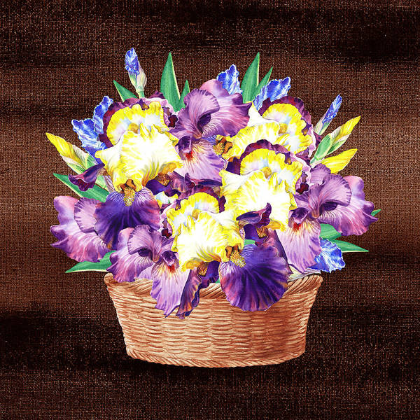 Flower Shop Painting - Basket With Iris Flowers by Irina Sztukowski