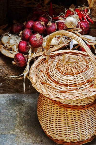 Wall Art - Photograph - Basket With Onions by Silvia Ganora