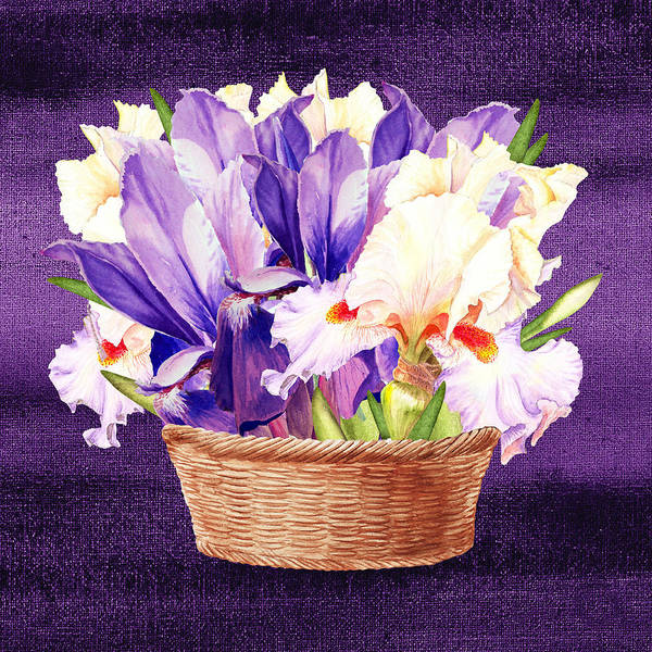 Flower Shop Painting - Basket With Purple And Pink Iris Flowers by Irina Sztukowski