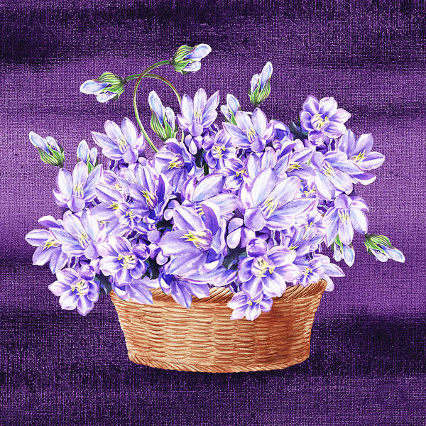 Flower Shop Painting - Basket With Purple Flowers by Irina Sztukowski