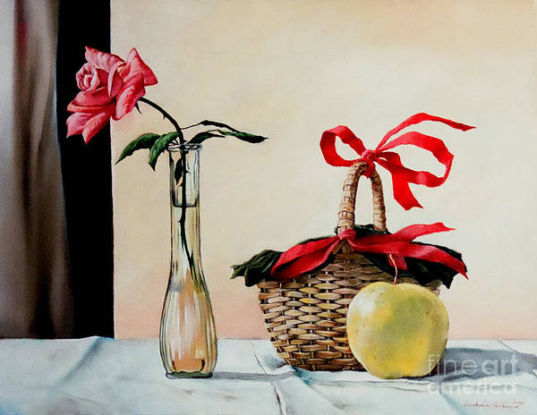 Painting - Basket With Rose And Apple by Christopher Shellhammer