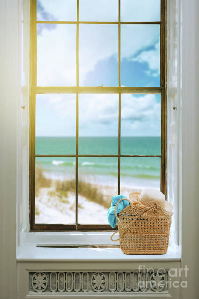 Wall Art - Photograph - Basket With Sunhat In The Window by Amanda Elwell