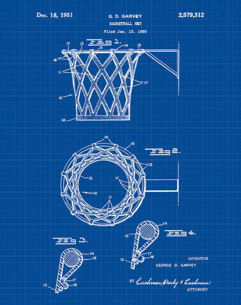 Wall Art - Drawing - Basketball Net Patent 1951 In Blue Print by Bill Cannon
