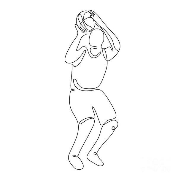 Wall Art - Digital Art - Basketball Player Free Throw Continuous Line by Aloysius Patrimonio