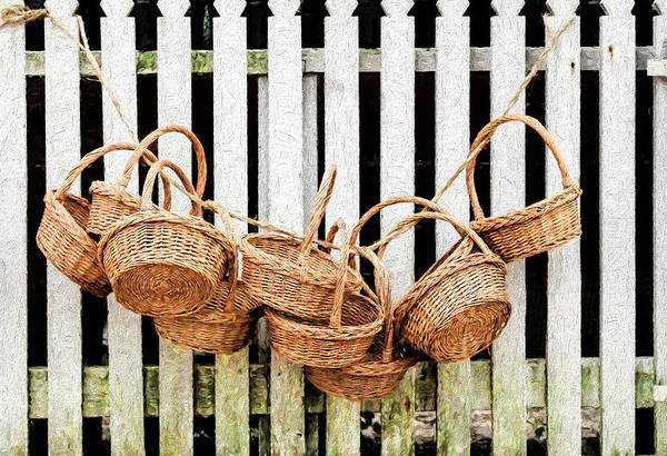 Photograph - Baskets Hanging On Picket Fence by Gary Slawsky