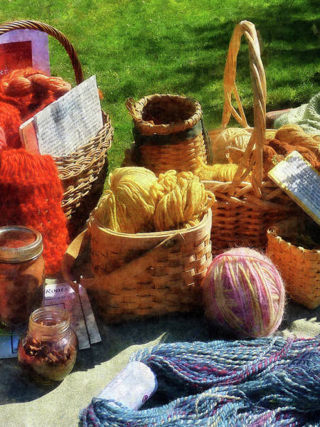 Photograph - Baskets Of Yarn At Flea Market by Susan Savad