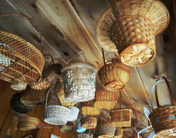 Wicker Basket Digital Art - Baskets Up High by Kae Cheatham