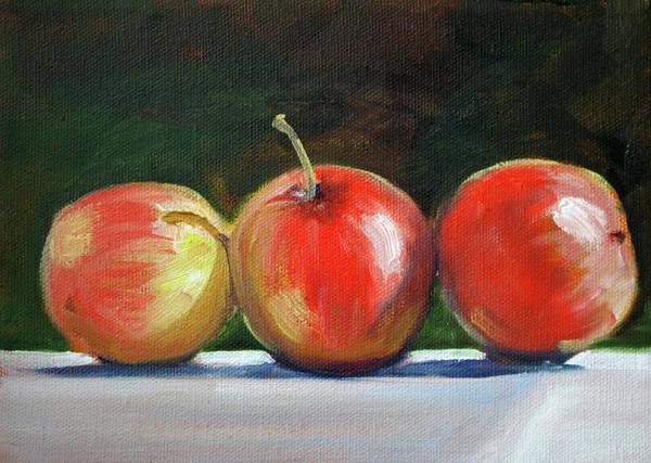 Vegan Painting - Basking Apples by Nancy Merkle