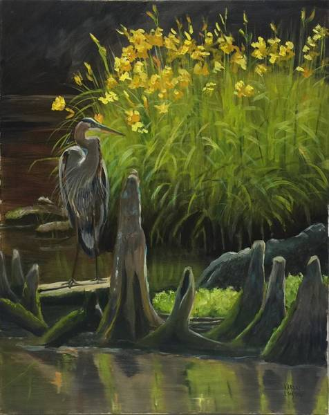 Wall Art - Painting - Basking Heron by Karen Langley