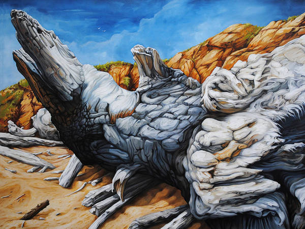 Driftwood Painting - Basking In The Sun by Chris Steinken