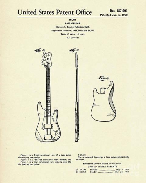 Bass Guitar Painting - Bass Guitar-1960 by Pablo Romero