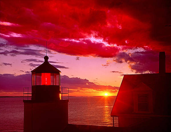 Photograph - 136215-bass Harbor Lighthouse At Sunset  by Ed  Cooper Photography