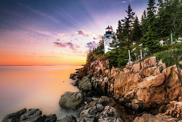 Art Print featuring the photograph Bass Harbor Lighthouse Sunset by Ranjay Mitra