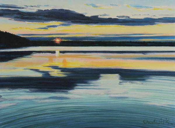 Wall Art - Painting - Bass Lake Sunset by Phil Chadwick