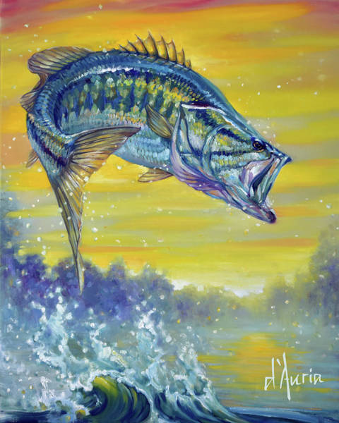 Freshwater Wall Art - Painting - Bass by Tom Dauria