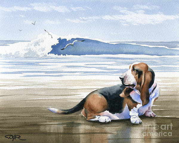 Basset Wall Art - Painting - Basset Hound At The Beach by David Rogers