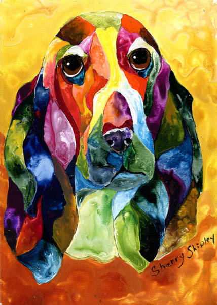 Painting - Basset Hound Blues by Sherry Shipley