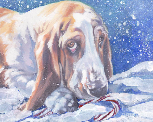 Wall Art - Painting - Basset Hound Christmas by Lee Ann Shepard