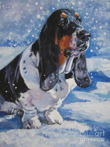 Wall Art - Painting - basset Hound in snow by Lee Ann Shepard
