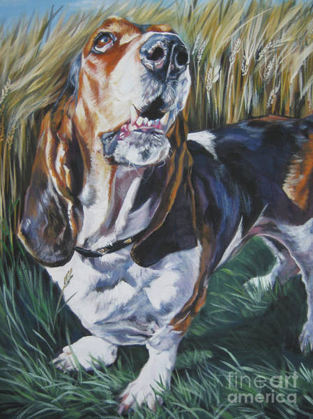 Wall Art - Painting - Basset Hound In Wheat by Lee Ann Shepard