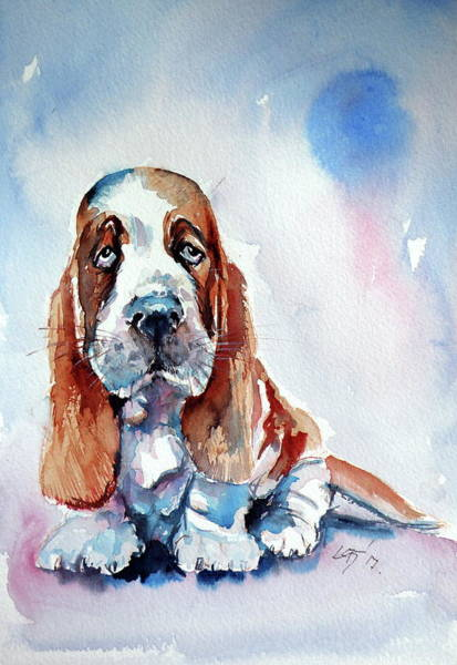 Wall Art - Painting - Basset Hound Puppy by Kovacs Anna Brigitta