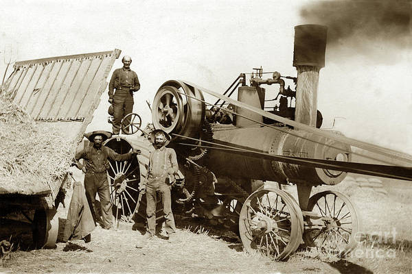 Photograph - Bassett Lowke Traction Engines Threshing Wheat Circa 1920 by California Views Archives Mr Pat Hathaway Archives