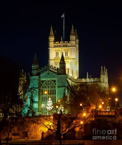 Photograph - Bath Abbey At Night At Christmas by Colin Rayner
