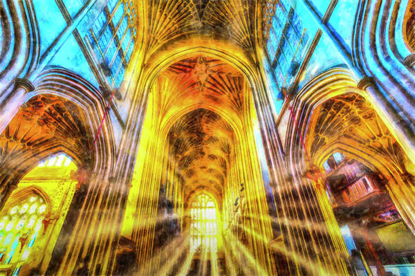 Wall Art - Photograph - Bath Abbey Sun Ray Art by David Pyatt