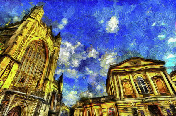 Bath Abbey Photograph - Bath City Van Gogh by David Pyatt