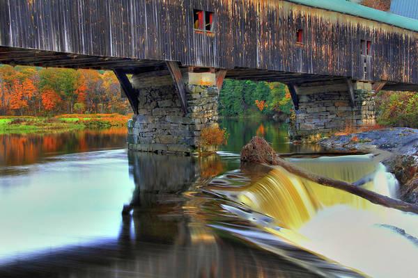 Photograph - Bath Covered Bridge In Autumn by Brian Pflanz