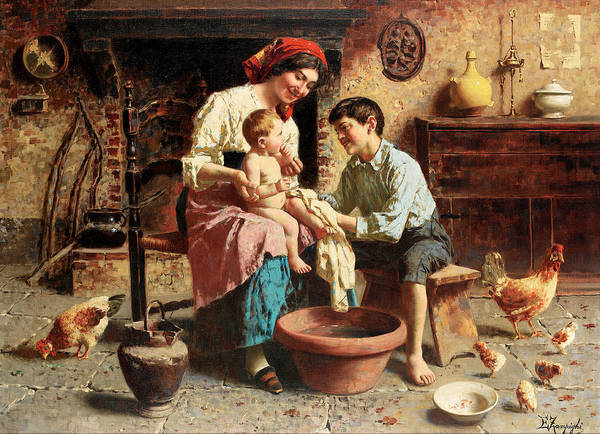 Rural Life Wall Art - Painting - Bathtime by Eugenio Zampighi