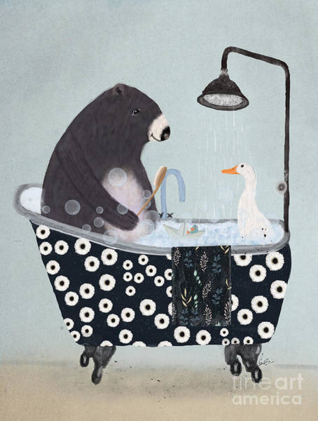 Shower Curtain Painting - Bath Time by Bri Buckley