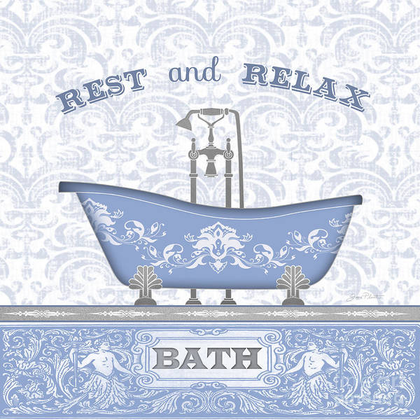 Bath Room Wall Art - Painting - Bath Time-blue-jp3845 by Jean Plout