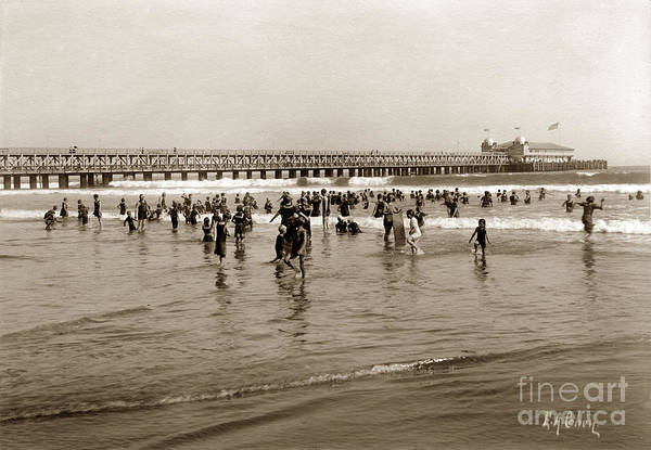 Photograph - Bather At Long Beach Pier California Aug. 9 1906 by California Views Archives Mr Pat Hathaway Archives