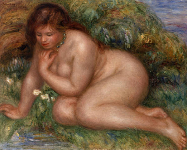 Wall Art - Painting - Bather Gazing At Herself In The Water by Pierre-Auguste Renoir